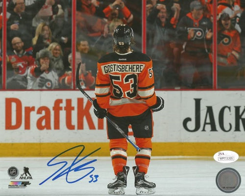 Shayne Gostisbehere Celebration Philadelphia Flyers Autographed NHL Hockey Photo