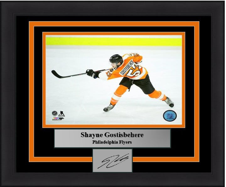 Philadelphia Flyers Shayne Gostisbehere Engraved Autograph Framed & Matted Photo (Shooting) - Dynasty Sports & Framing