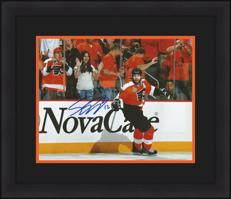 Philadelphia Flyers Simon Gagne 2010 Stanley Cup Finals Autographed NHL Hockey Framed and Matted Photo - Dynasty Sports & Framing
