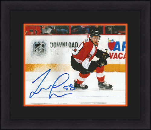 Philadelphia Flyers Taylor Leier Ice Spray Autographed Hockey Framed and Matted Photo - Dynasty Sports & Framing