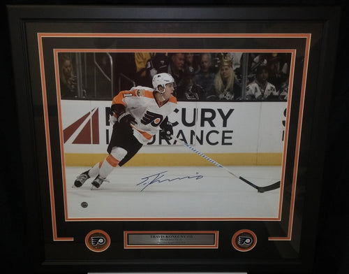 Philadelphia Flyers Travis Konecny Charging Down the Ice Autographed NHL Hockey Framed and Matted Photo - Dynasty Sports & Framing