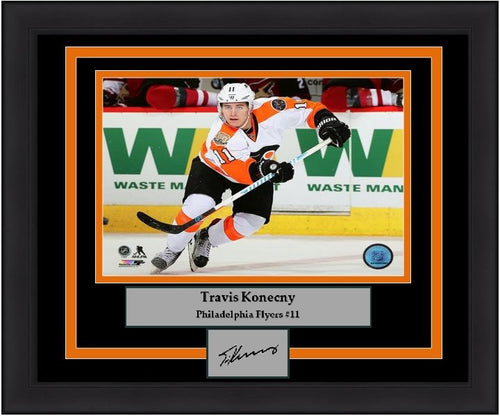 Philadelphia Flyers Travis Konecny Skating Engraved Autograph NHL Hockey Framed & Matted Photo (Skating) (Dynasty Signature Collection) - Dynasty Sports & Framing