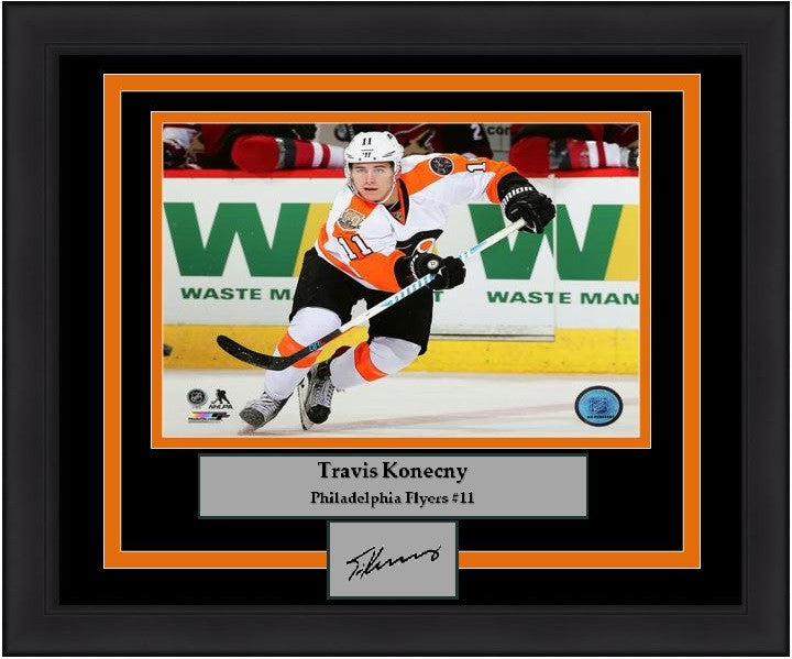 Philadelphia Flyers Travis Konecny Hockey Engraved Autograph Framed & Matted Photo (Skating) (Dynasty Signature Collection) - Dynasty Sports & Framing