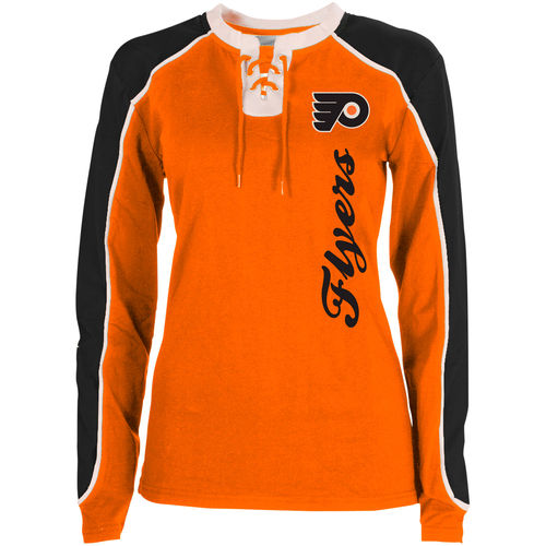Philadelphia Flyers NHL Hockey Women's Nora Lace Up Long Sleeve T-Shirt