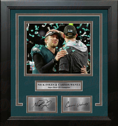 Nick Foles & Carson Wentz Eagles Super Bowl LII Champions 8x10 Framed Photo with Engraved Autographs - Dynasty Sports & Framing