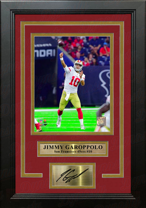 "Jimmy Garoppolo in Action San Francisco 49ers 8"" x 10"" Framed Football Photo with Engraved Autograph - Dynasty Sports & Framing"