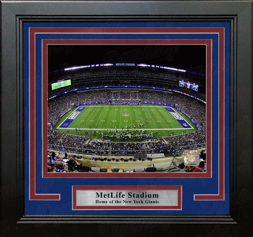 "New York Giants MetLife Stadium at Night 8"" x 10"" Framed Football Photo - Dynasty Sports & Framing"