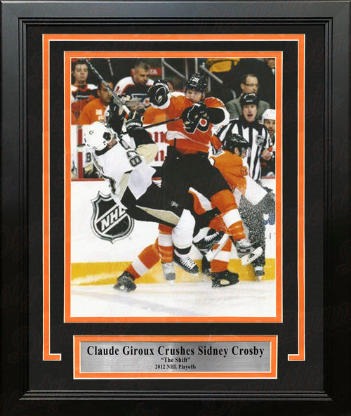 Claude Giroux Hits Sidney Crosby Philadelphia Flyers 2012 NHL Hockey Playoffs Framed Photo - Dynasty Sports & Framing