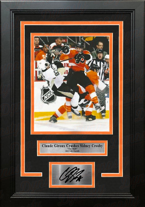 Claude Giroux Hits Sidney Crosby Philadelphia Flyers Playoffs Framed Photo with Engraved Autograph - Dynasty Sports & Framing