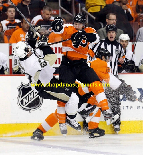 Claude Giroux Hits Sidney Crosby Philadelphia Flyers 2012 NHL Hockey Playoffs Photo - Dynasty Sports & Framing