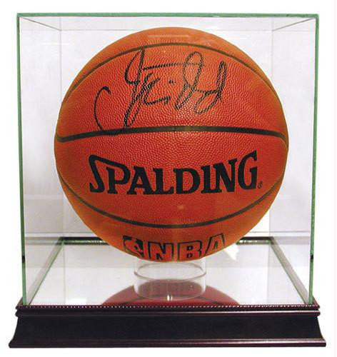 Basketball Glass UV-Protected Display Case with Cherrywood Base and Mirrored Bottom - Dynasty Sports & Framing