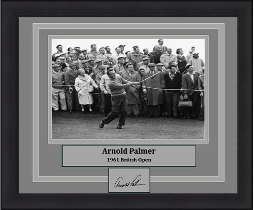 Golf Arnold Palmer 1961 British Open Engraved Autograph Framed & Matted Photo (Dynasty Signature Collection) - Dynasty Sports & Framing