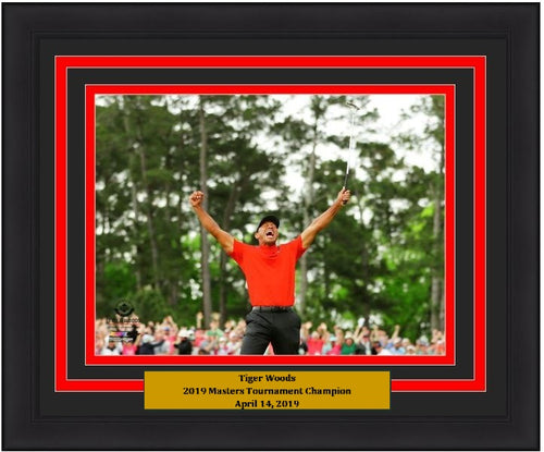 "Tiger Woods 2019 Masters Champion Celebration PGA Golf 8"" x 10"" Framed and Matted Photo"