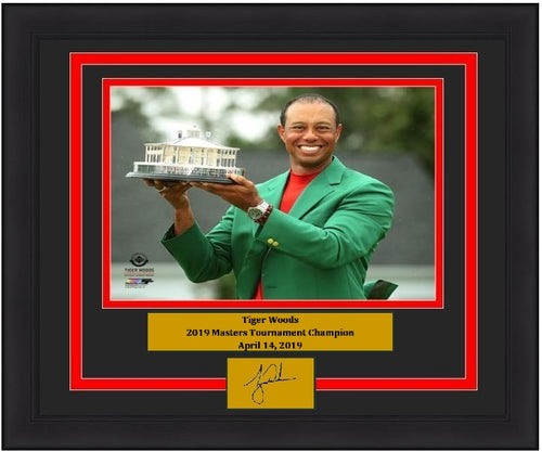 "Tiger Woods 2019 Masters Champion Trophy & Green Jacket PGA Golf 8"" x 10"" Framed and Matted Photo with Engraved Autograph"
