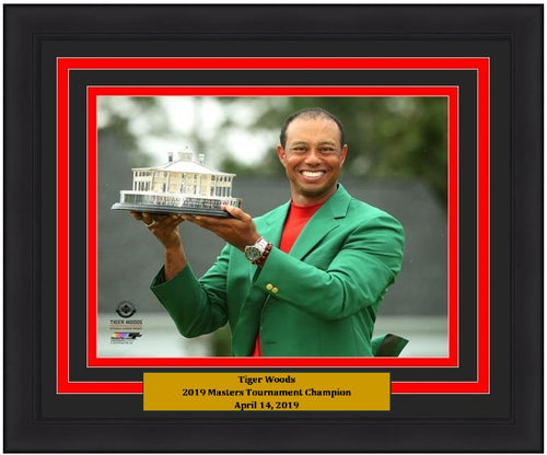 "Tiger Woods 2019 Masters Champion Trophy & Green Jacket PGA Golf 8"" x 10"" Framed and Matted Photo"