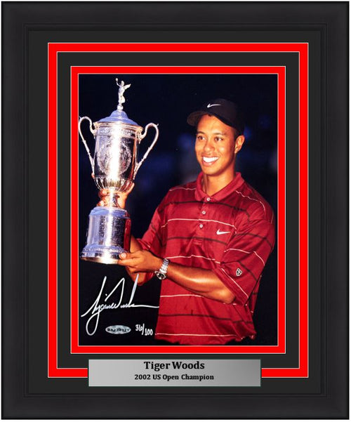 "Tiger Woods 2002 US Open Champion Trophy PGA Golf Autographed 8"" x 10"" Framed and Matted Photo"