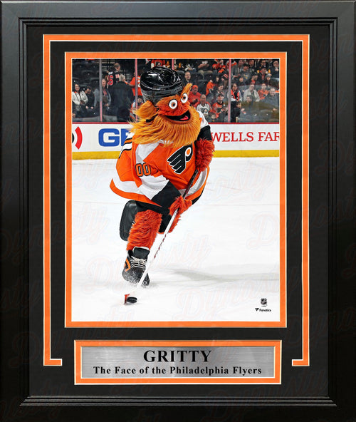 "Gritty Skating Down the Ice Philadelphia Flyers 8"" x 10"" Framed Hockey Mascot Photo - Dynasty Sports & Framing"