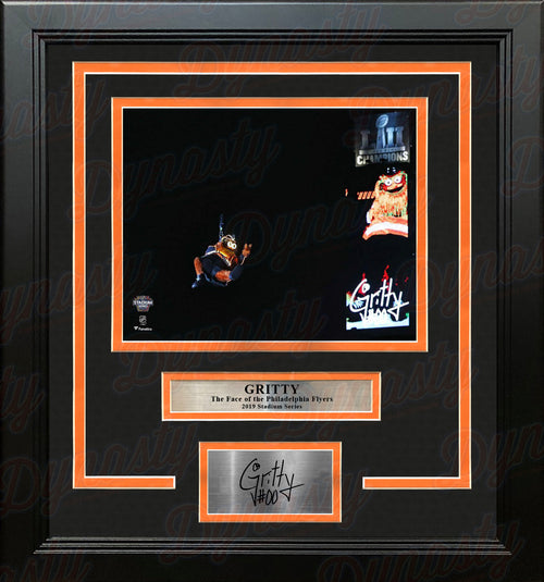 Gritty Stadium Series Zipline Philadelphia Flyers 8x10 Framed Hockey Photo with Engraved Autograph - Dynasty Sports & Framing