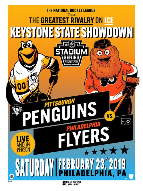 Philadelphia Flyers/Pittsburgh Penguins Official 2019 NHL Hockey Stadium Series Poster - Dynasty Sports & Framing
