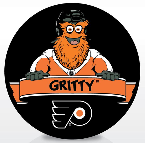 Flyers Gritty Official Logo Puck | Philadelphia Flyers Mascot