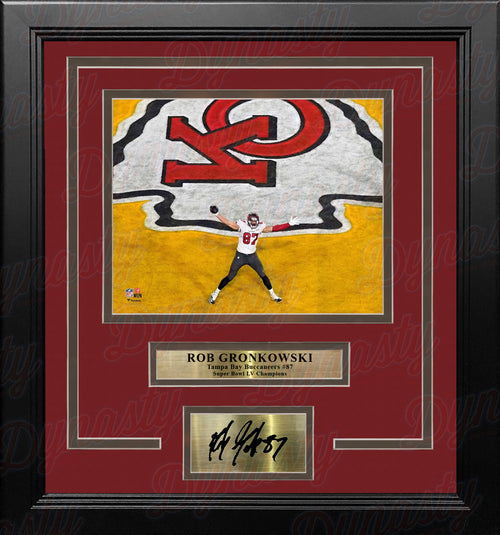 Rob Gronkowski Super Bowl LV End Zone Tampa Bay Buccaneers 8x10 Framed Photo with Engraved Autograph - Dynasty Sports & Framing