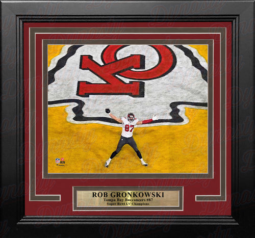 Rob Gronkowski Super Bowl LV End Zone Celebration Tampa Bay Buccaneers 8x10 Framed Football Photo - Dynasty Sports & Framing