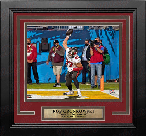"Rob Gronkowski Super Bowl LV Touchdown Spike Tampa Bay Buccaneers 8"" x 10"" Framed Football Photo - Dynasty Sports & Framing"