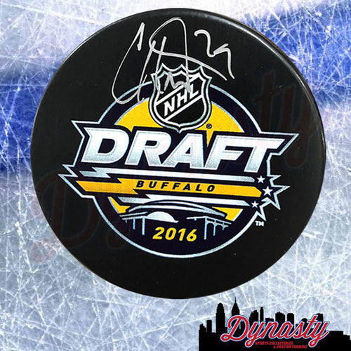 Carter Hart Philadelphia Flyers Autographed 2016 NHL Hockey Draft Logo Puck - Dynasty Sports & Framing