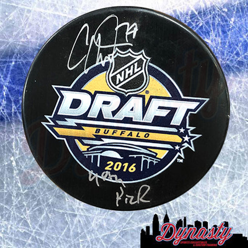 Carter Hart Philadelphia Flyers Autographed 2016 NHL Hockey Draft Puck with 48th Pick Inscription - Dynasty Sports & Framing