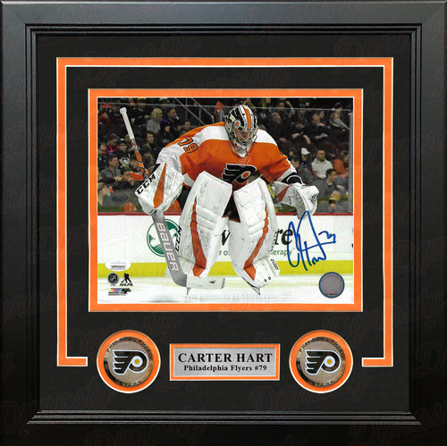 Carter Hart Philadelphia Flyers Jump Autographed NHL Hockey Framed and Matted Photo - Dynasty Sports & Framing