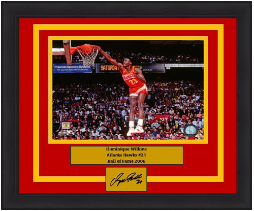 "Dominique Wilkins Slam Dunk Atlanta Hawks 8"" x 10"" Framed Basketball Photo with Engraved Autograph - Dynasty Sports & Framing"