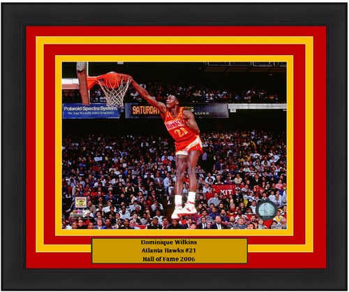 "Dominique Wilkins Slam Dunk Atlanta Hawks 8"" x 10"" Framed Basketball Photo - Dynasty Sports & Framing"