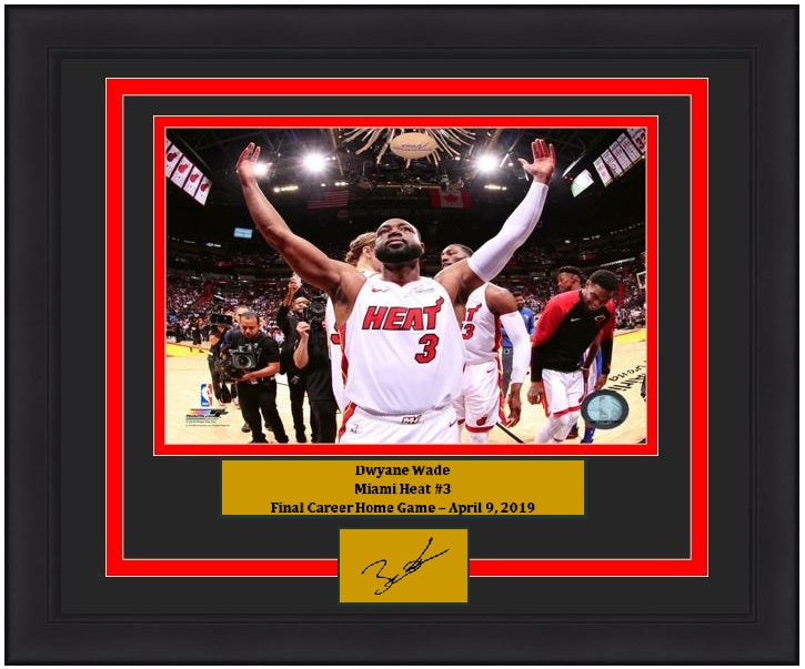"Dwyane Wade Miami Heat Final Career Home Game NBA Basketball 8"" x 10"" Framed and Matted Photo with Engraved Autograph"