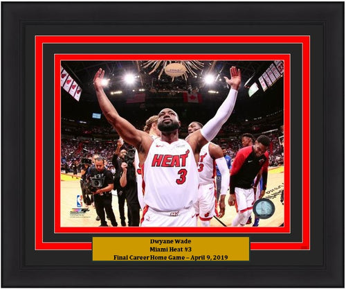 "Dwyane Wade Miami Heat Final Career Home Game NBA Basketball 8"" x 10"" Framed and Matted Photo"