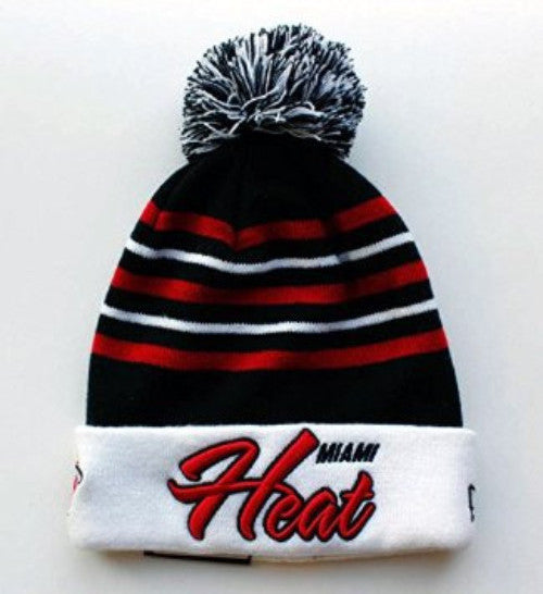 Miami Heat New Era Snow Stripe Pom Knit Hat - Dynasty Sports & Framing