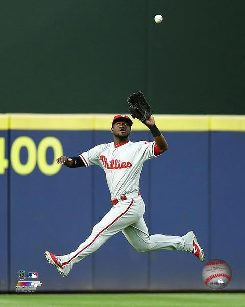 Odubel Herrera Philadelphia Phillies Jump Catch MLB Baseball Photo - Dynasty Sports & Framing