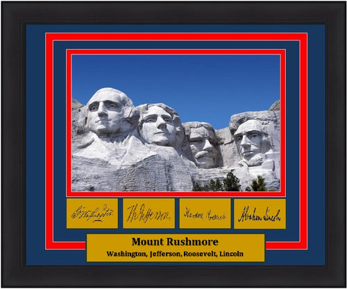 "Mount Rushmore National Memorial Engraved Autograph 8"" x 10"" Framed and Matted Photo (Dynasty Signature Collection) - Dynasty Sports & Framing"