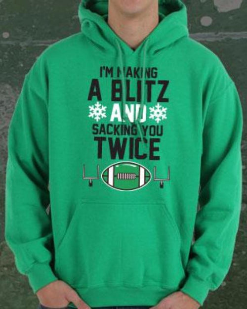 Philadelphia Eagles NFL Football Making a Blitz, Sacking You Twice Holiday Hoodie - Dynasty Sports & Framing