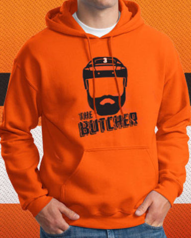 "Radko Gudas ""The Butcher"" Flyers Orange Hooded Sweatshirt (Adult) - Dynasty Sports & Framing  - 1"