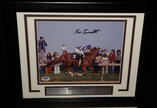 "Horse Racing Ron Turcotte Riding Secretariat Autographed 8"" x 10"" Framed & Matted Photo - Dynasty Sports & Framing"