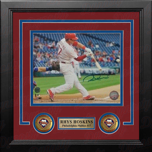 "Rhys Hoskins Philadelphia Phillies Swinging at the Plate Autographed 8"" x 10"" Framed Baseball Photo - Dynasty Sports & Framing"