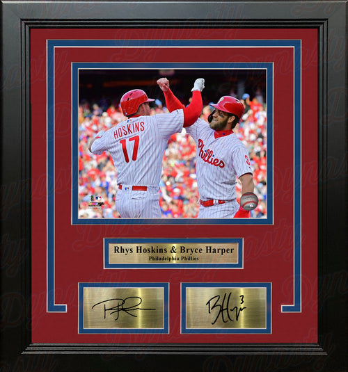 "Rhys Hoskins & Bryce Harper Philadelphia Phillies 8"" x 10"" Framed Photo with Engraved Autographs - Dynasty Sports & Framing"