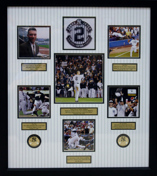 Derek Jeter New York Yankees Historical Moments Framed & Matted Collage - Dynasty Sports & Framing