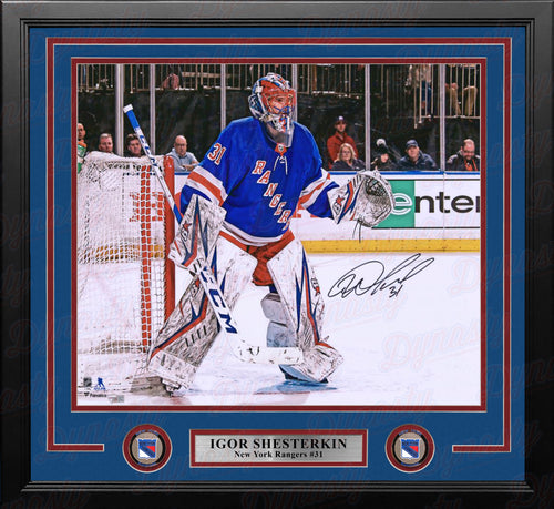 "Igor Shesterkin in Net New York Rangers Autographed 16"" x 20"" Framed Hockey Photo - Dynasty Sports & Framing"