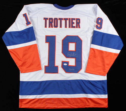 Bryan Trottier New York Islanders Autographed Hockey Jersey with Hall of Fame Inscription - Dynasty Sports & Framing