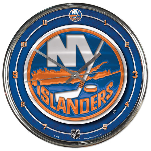 New York Islanders Round Chrome Clock - Dynasty Sports & Framing