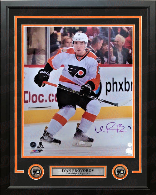 "Ivan Provorov Skating Autographed Philadelphia Flyers 16"" x 20"" Framed Hockey Photo - Dynasty Sports & Framing"