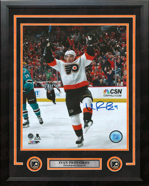 "Ivan Provorov Philadelphia Flyers Celebration Autographed 16"" x 20"" Framed Hockey Photo - Dynasty Sports & Framing"