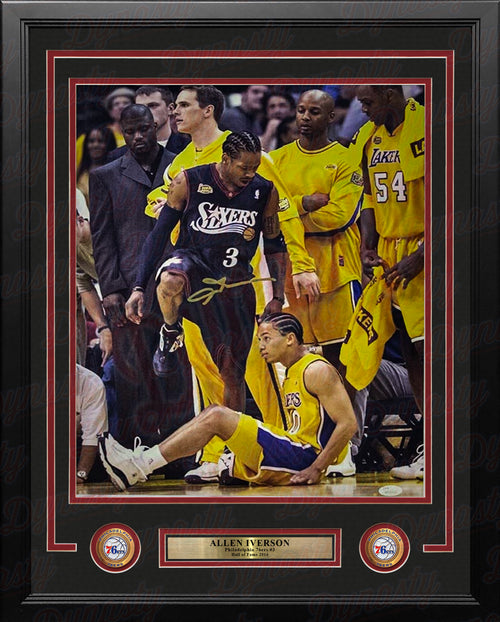 Allen Iverson Standing Over Tyronn Lue Philadelphia 76ers Autographed 16x20 Framed Basketball Photo