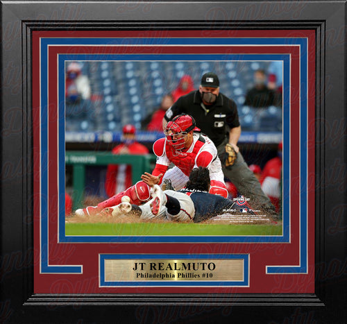 "JT Realmuto Play at the Plate Philadelphia Phillies 8"" x 10"" Framed Baseball Photo - Dynasty Sports & Framing"